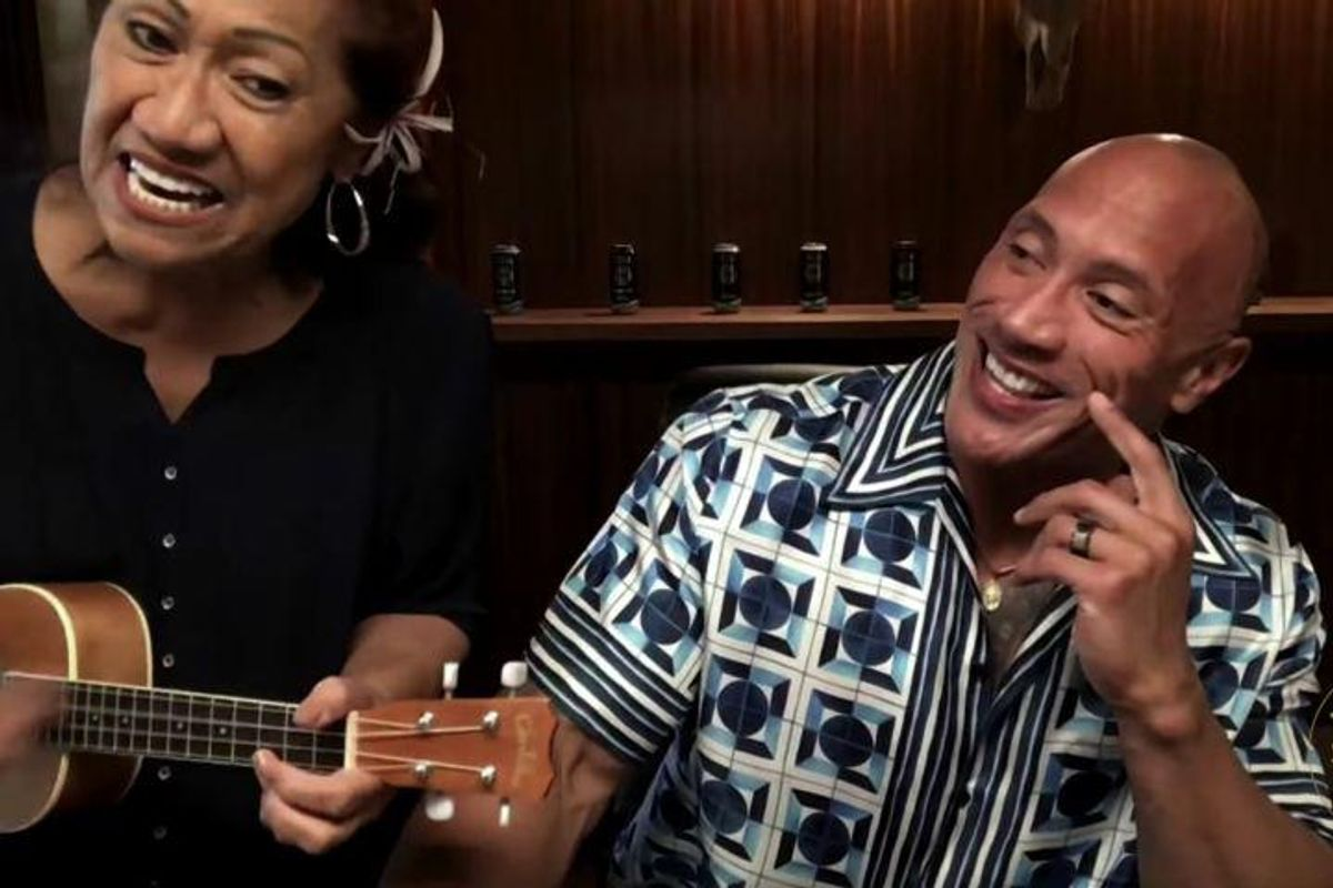 The Rock's Mom interrupted his interview with Jimmy Fallon for a song and it was adorable