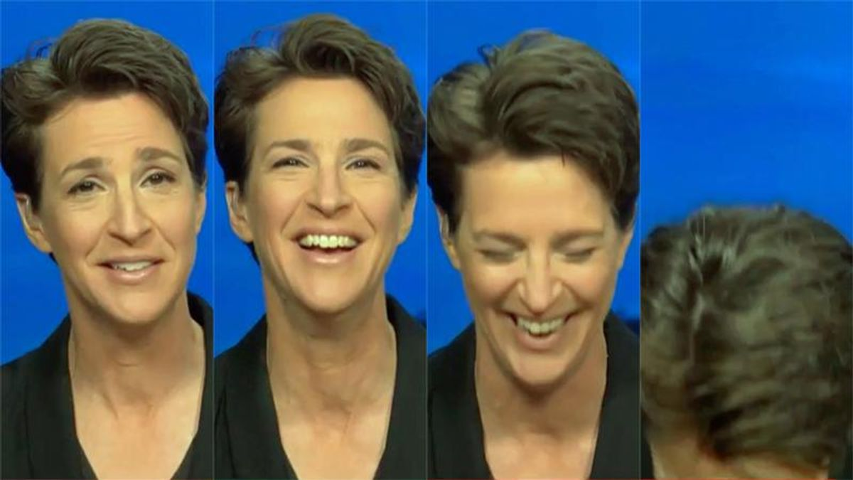 Maddow doubles over in laughter reporting on Trump's impeachment defenses