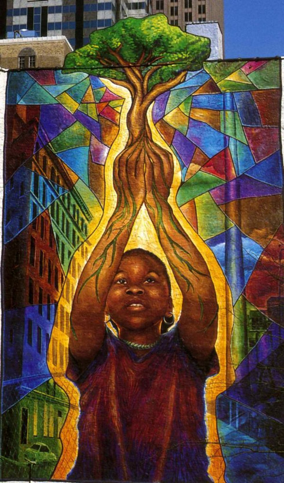 mural of strong black child