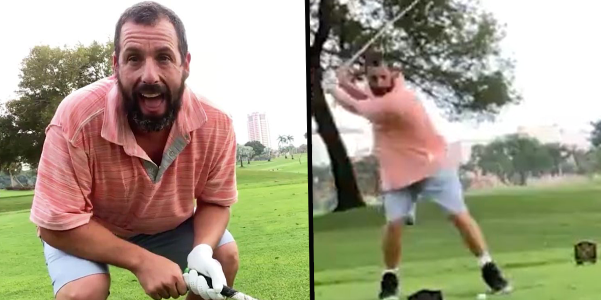 Adam Sandler Performs Iconic 'Happy Gilmore' Shot on The Movie's 25th Anniversary