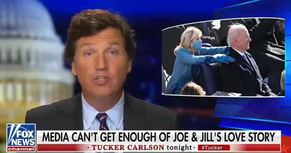 Tucker Carlson's latest conspiracy theory is that Joe and Jill Biden's marriage is 'fake'