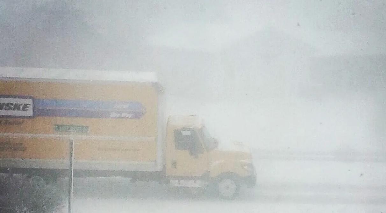 Penske truck in snow