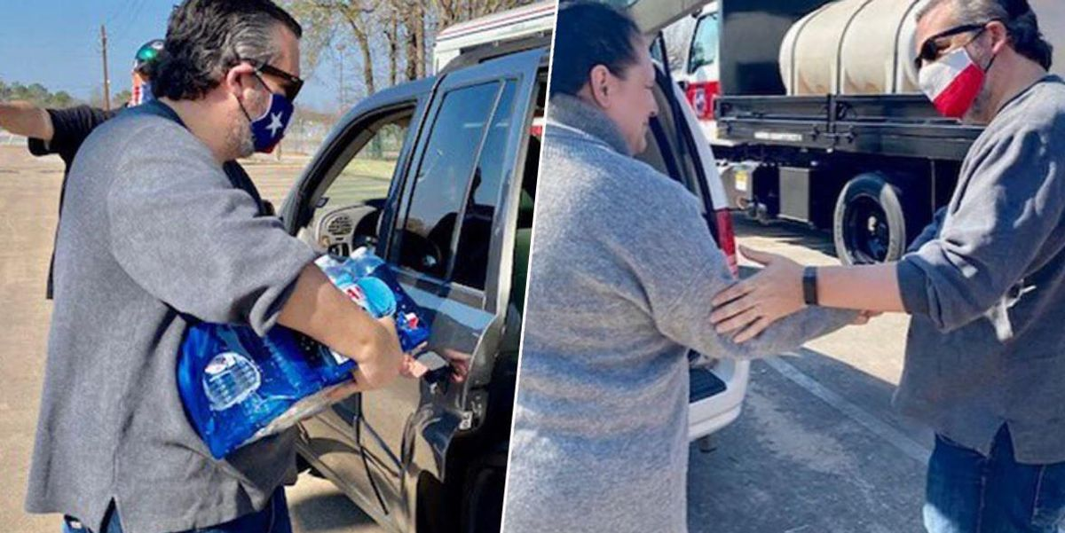 Ted Cruz Posts Photos Of Himself Delivering Water to Texans
