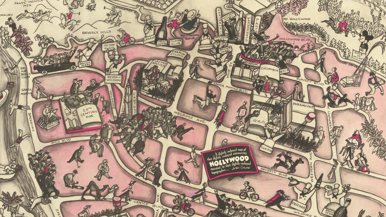 'Cockeyed' map shows both glamour and margins of 1930s Hollywood