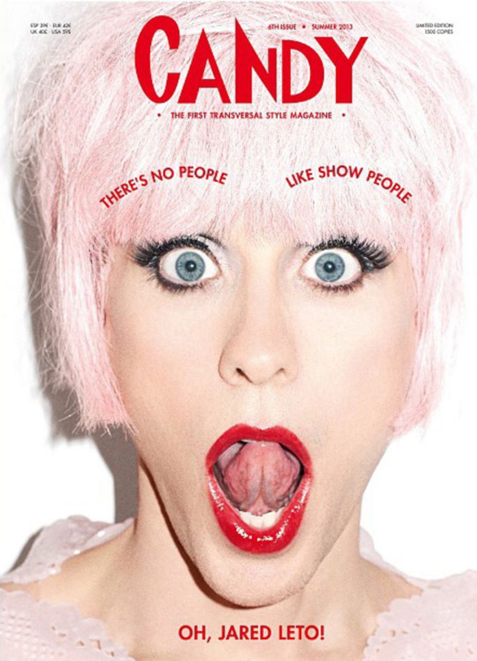 Jared Leto Wears a Pink Wig and Lipstick for Candy Magazine
