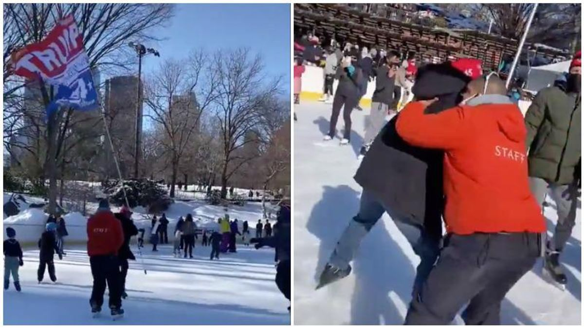 VIDEO: Onlookers cheer as man flying giant 'Trump 2024' flag at Central Park skating rink gets taken down