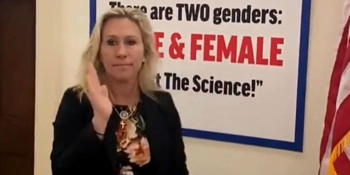 Marjorie Taylor Greene Puts Sign Outside Her Office Claiming There's Only Two Genders