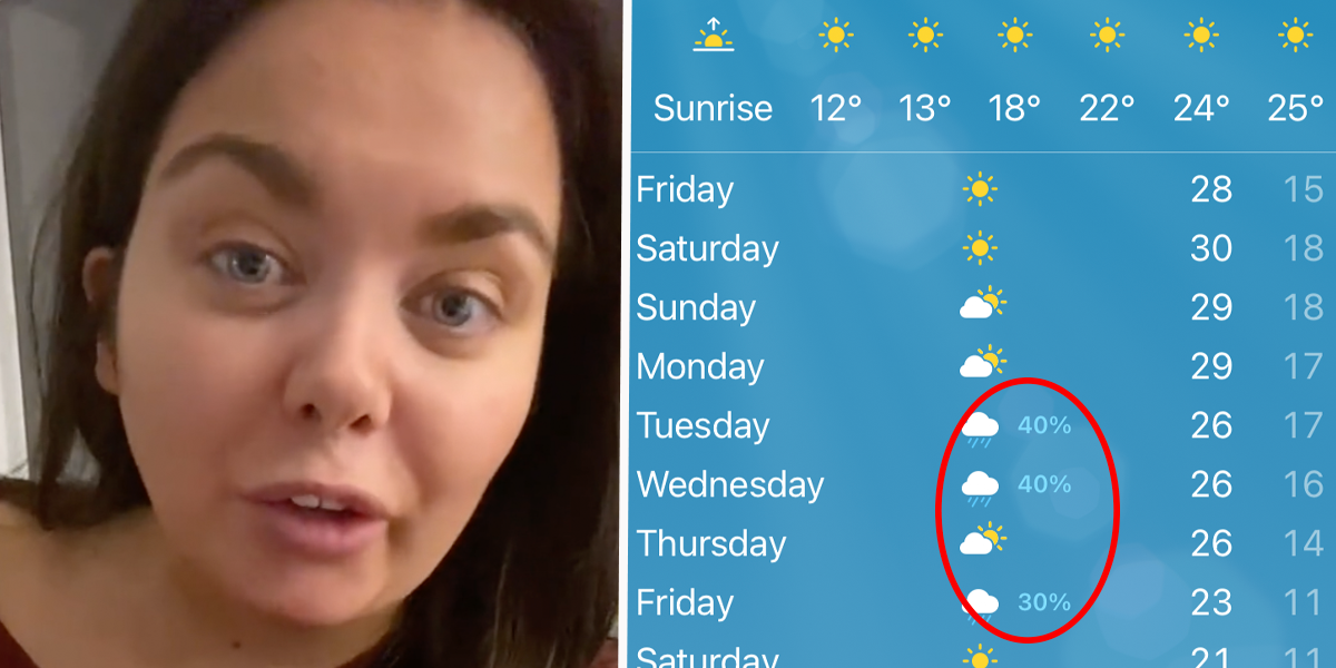 Woman Discovers '30% Rain' on Weather App Doesn't Mean 'Chance of Rain'