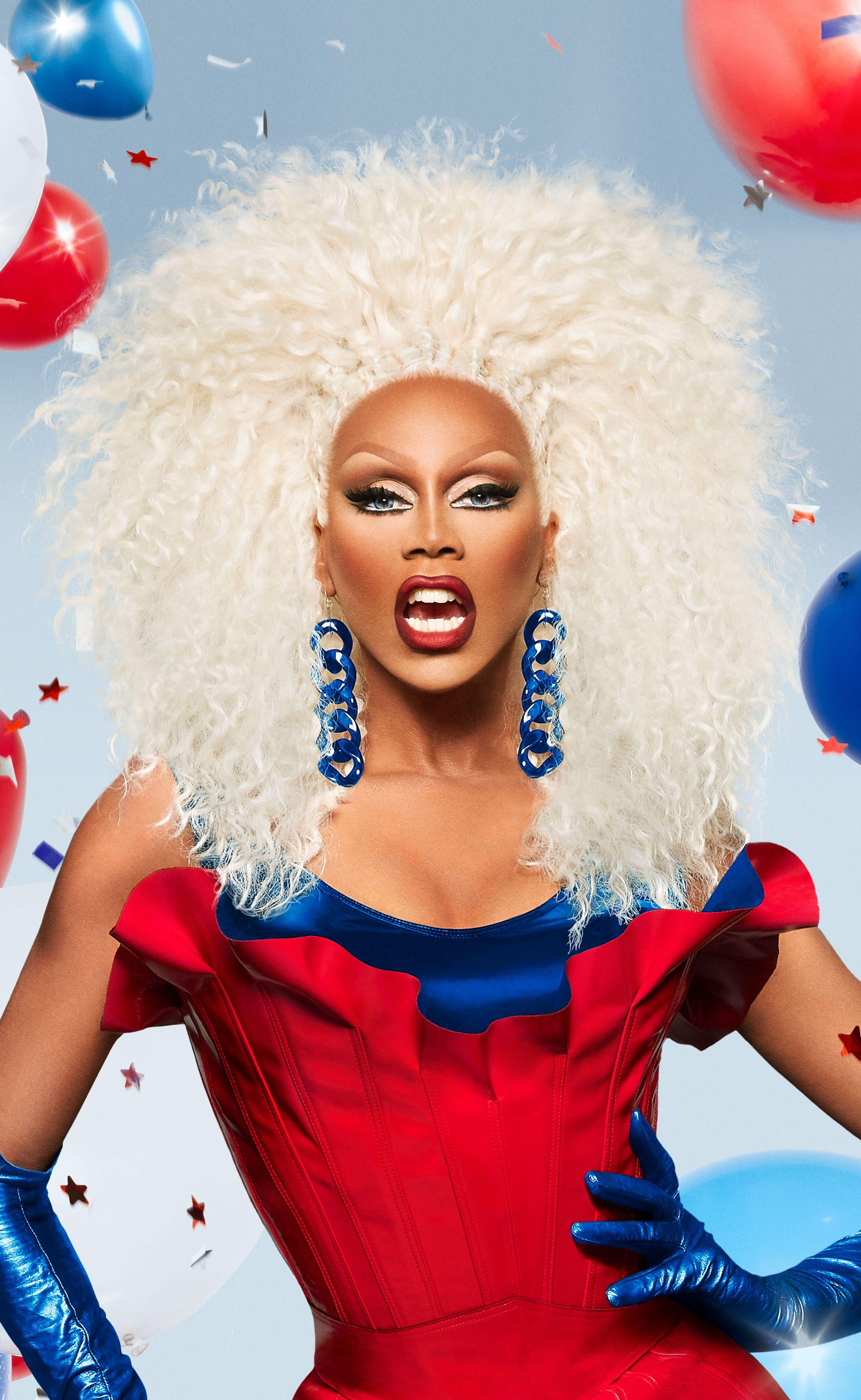 RuPaul dressed in red, white, and blue drag