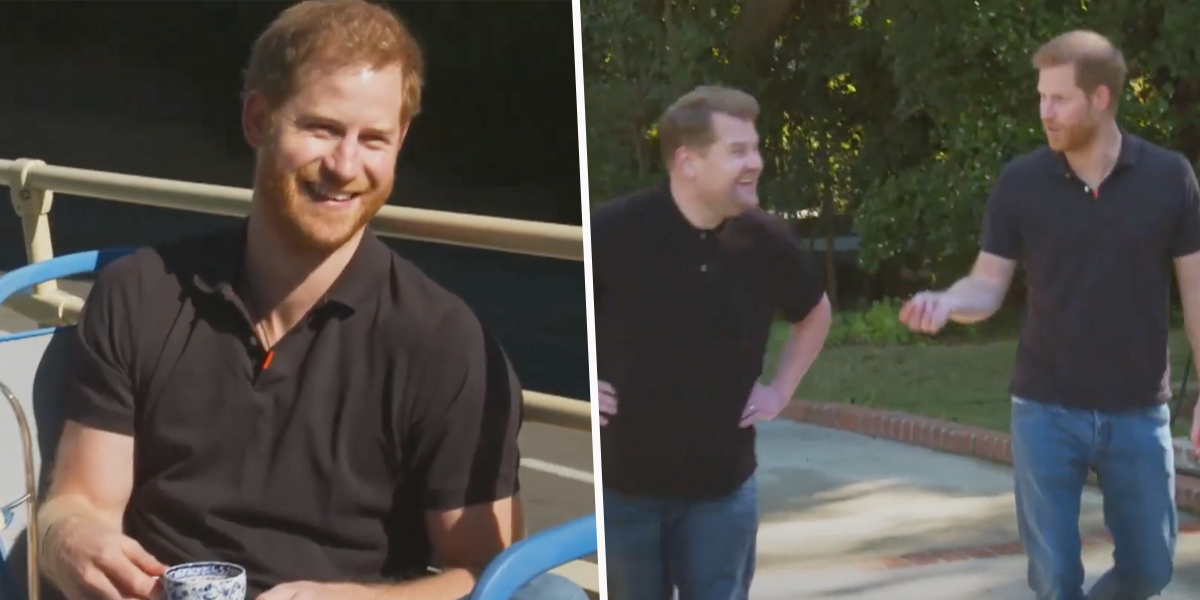 Prince Harry Raps on James Corden TV Show and Chats About Meghan Romance
