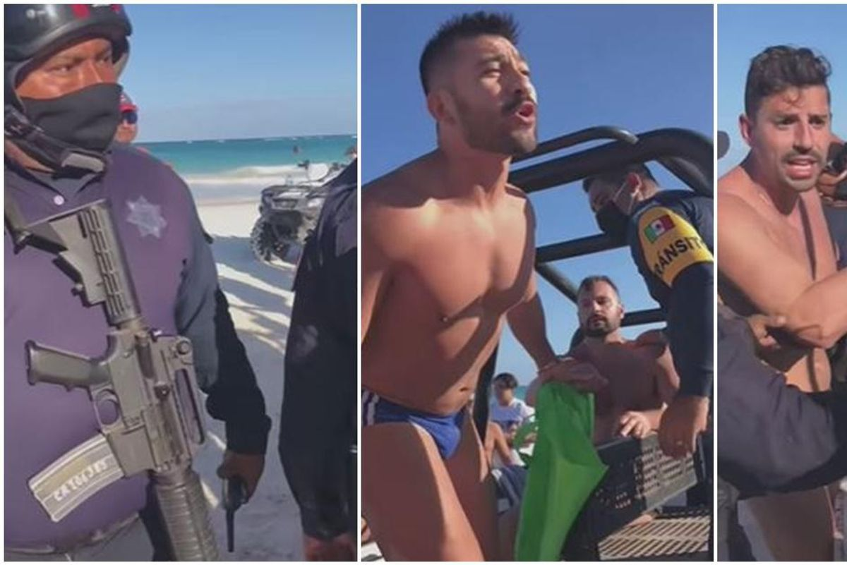A brave crowd saves gay couple from being arrested for kissing on a Mexican beach