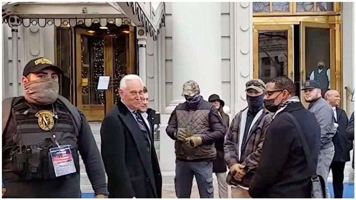 Video emerges showing Roger Stone flanked by right-wing militia group ahead of Capitol insurrection