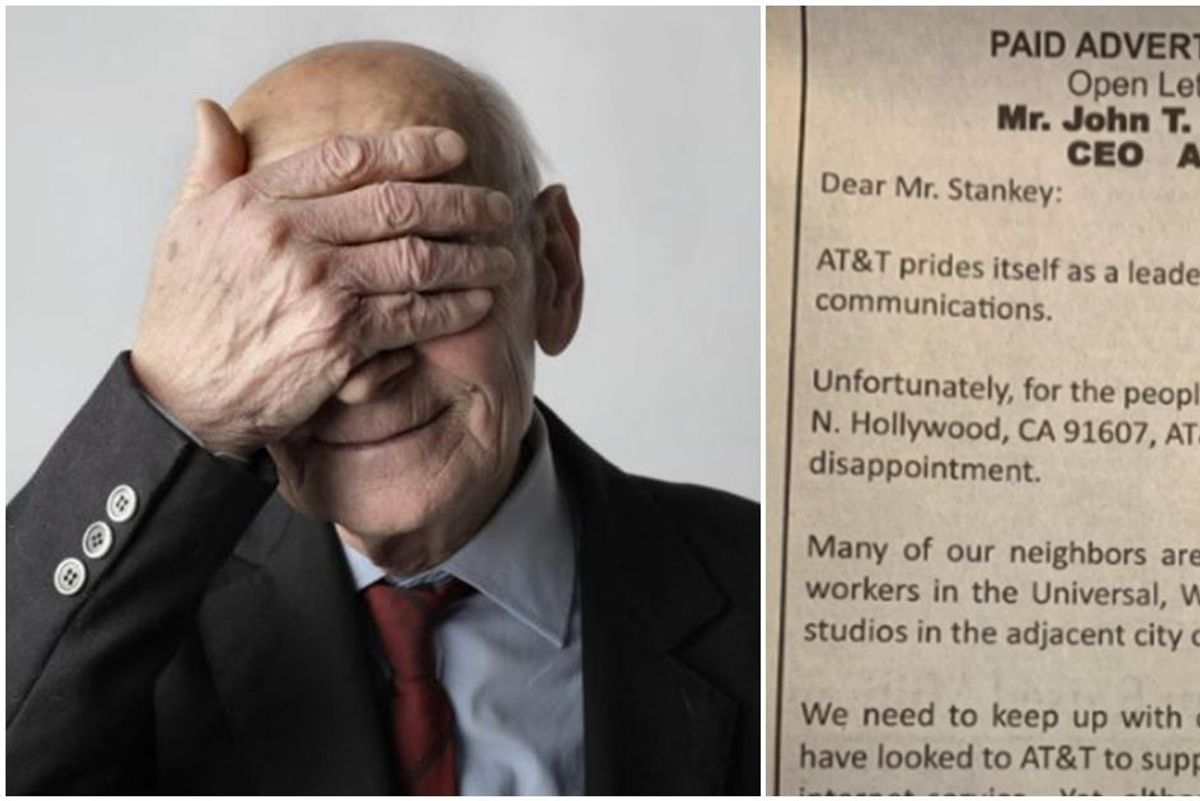 Fed up 90-year-old takes an ad out in the paper to tell AT&T's CEO about his slow internet