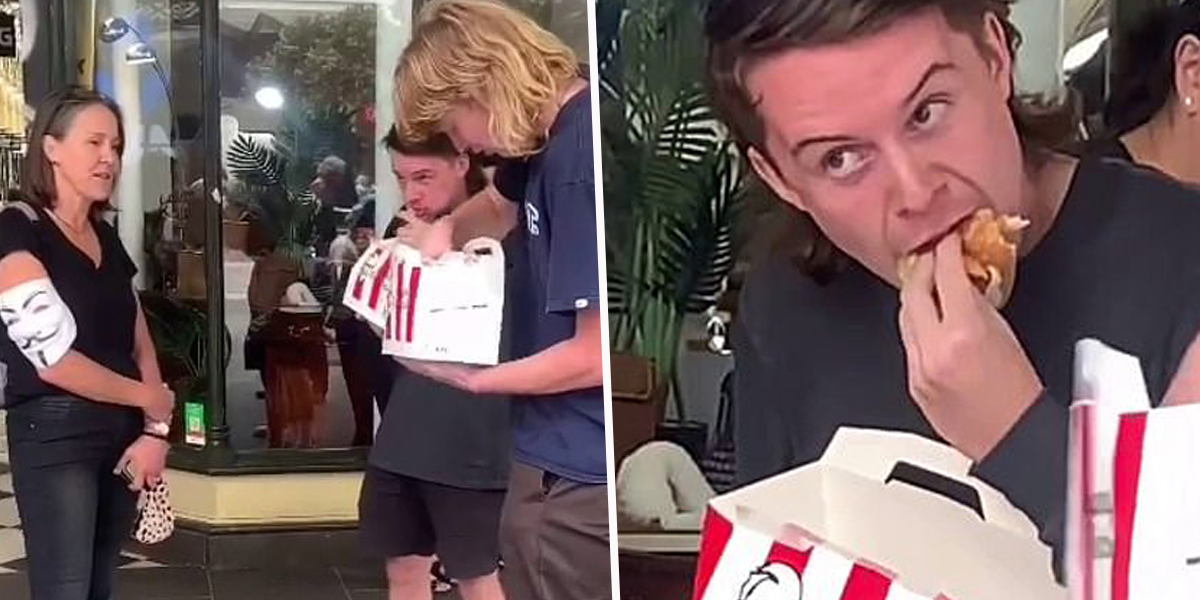 Two Men Taunt Vegan Protesters By Eating KFC Meal in Front of Them