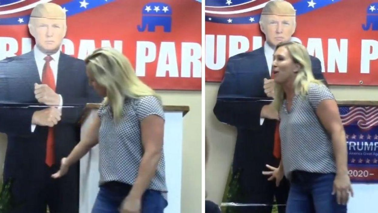 QAnon Congresswoman Rubs Crotch Of Trump Cardboard Cutout In Bizarre Resurfaced Video
