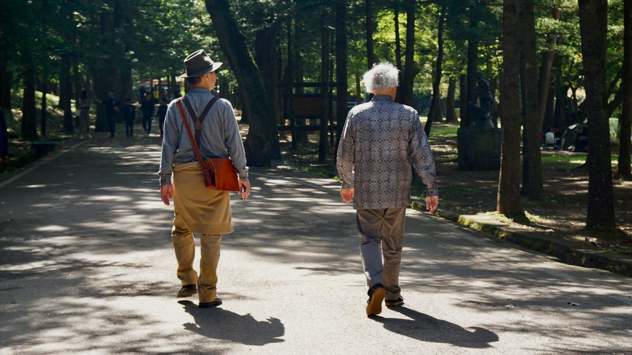 Two people walking down a wooded path.