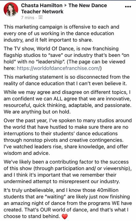 \u200bChasta Hamilton's post in the New Dance Teacher Network Facebook group, explaining why she found the marketing campaign offensive