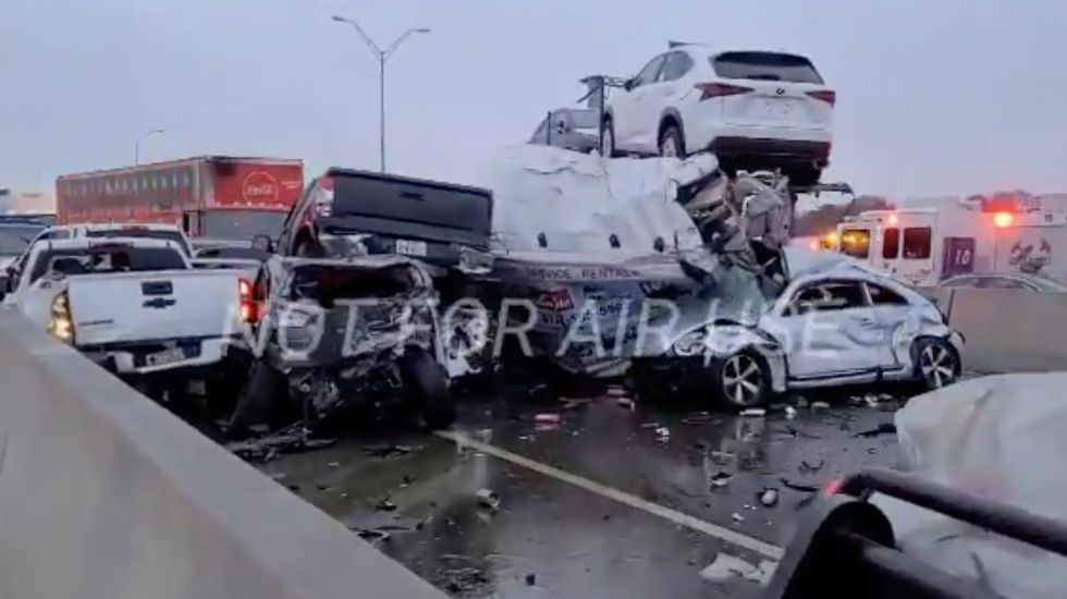 WATCH BREAKING: 'Mass casualty incident' unfolding on Texas highway as more than 100 cars pile up because of icy roadways, trapping people in vehicles — UPDATED