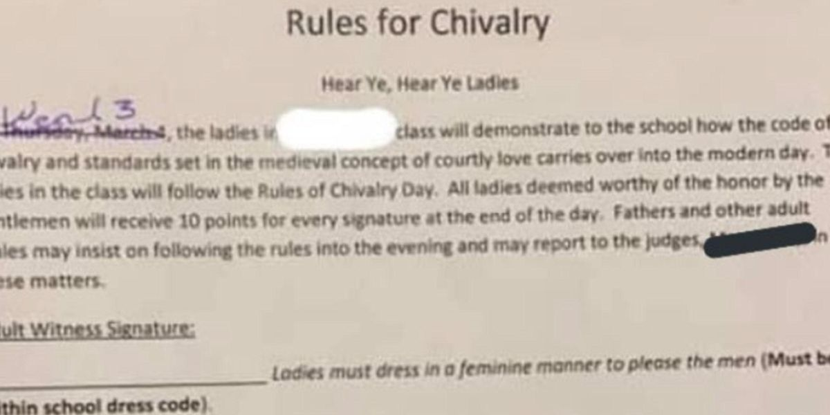 Texas School's 'Chivalry' Assignment Told Girls To Dress To Please Men