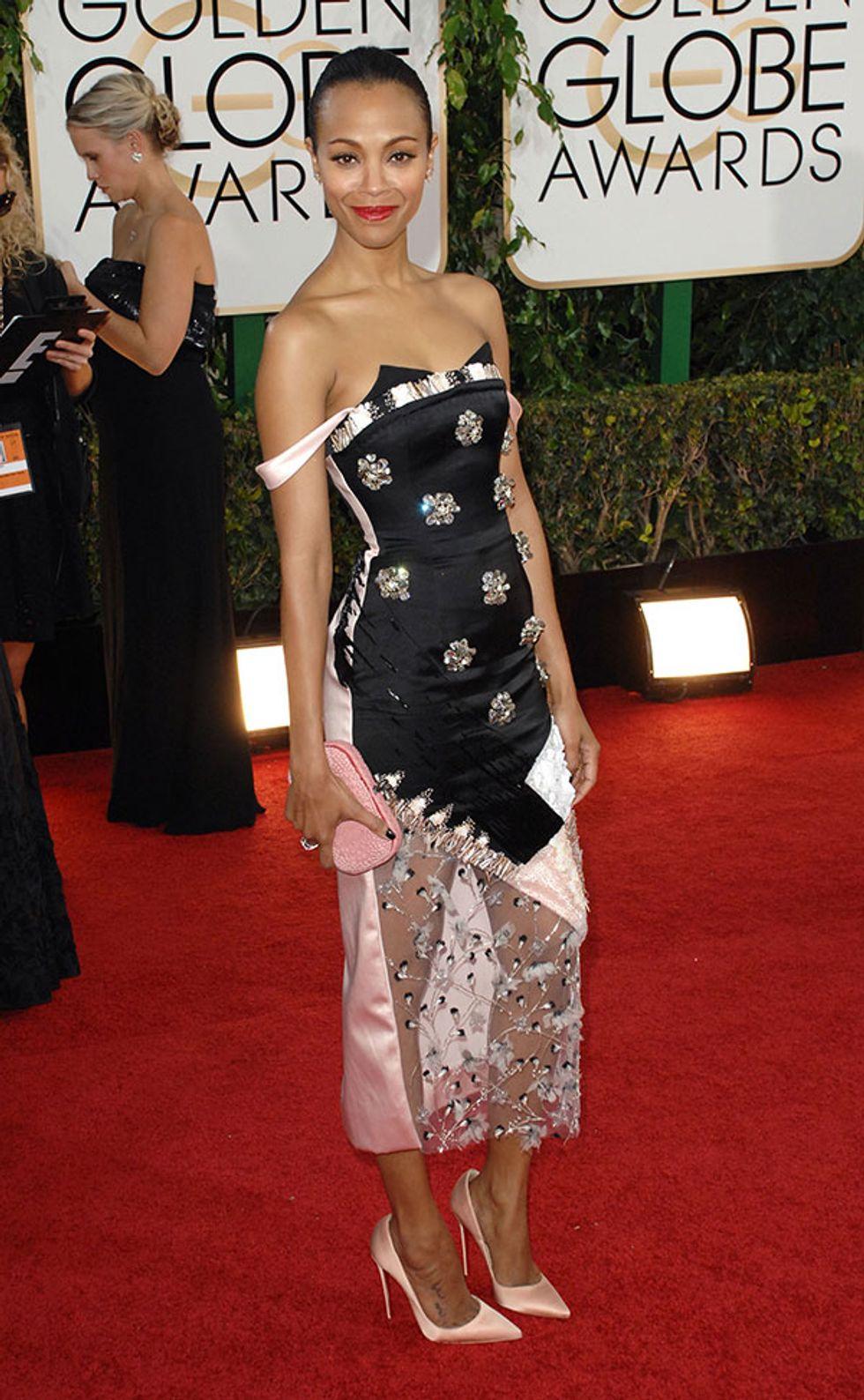 In Defense of Zoe Saldana's Golden Globes Dress