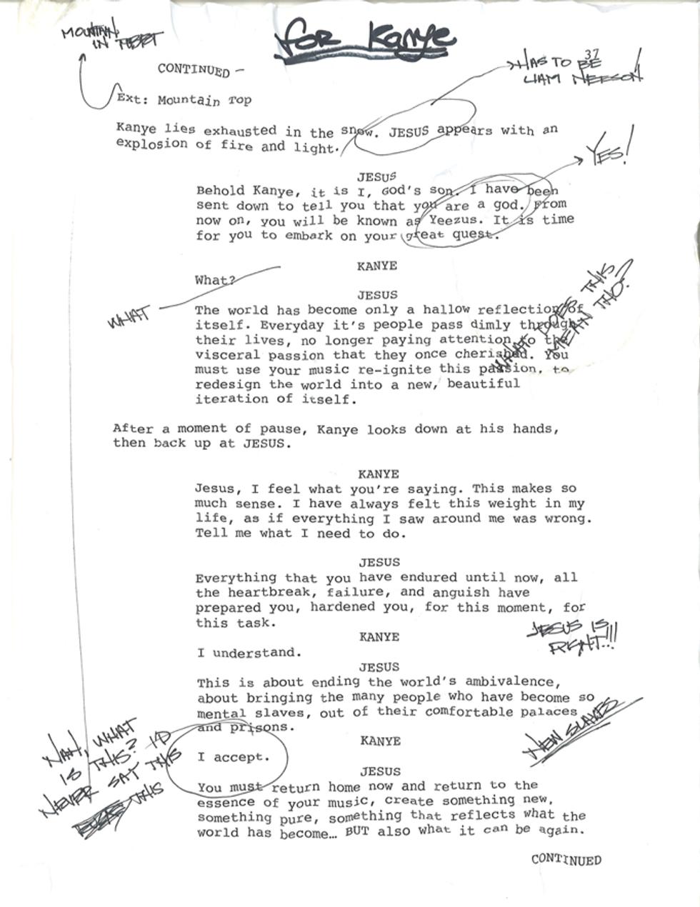 Page From Bret Easton Ellis' Yeezus Screenplay Leaks