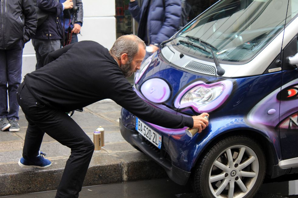 Kenny Scharf and Colette Have a Car-Tagging Party