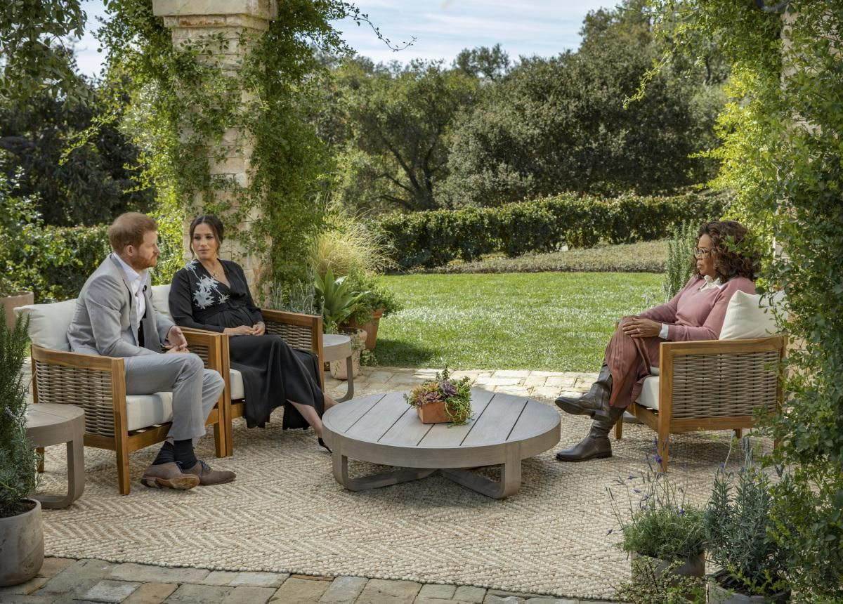 Prince Harry and Meghan with Oprah Winfrey