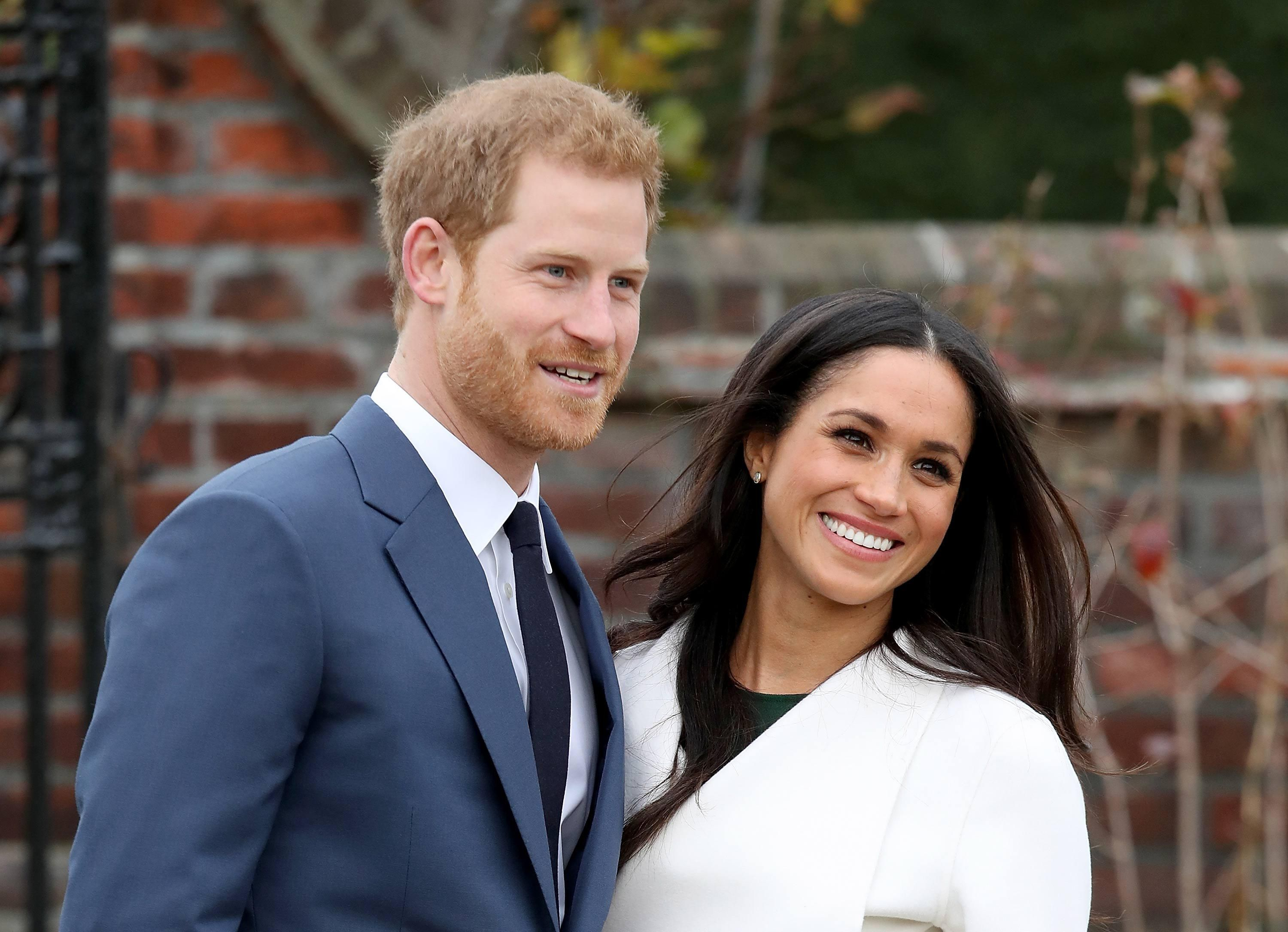 Harry and Meghan pose shortly after getting engaged