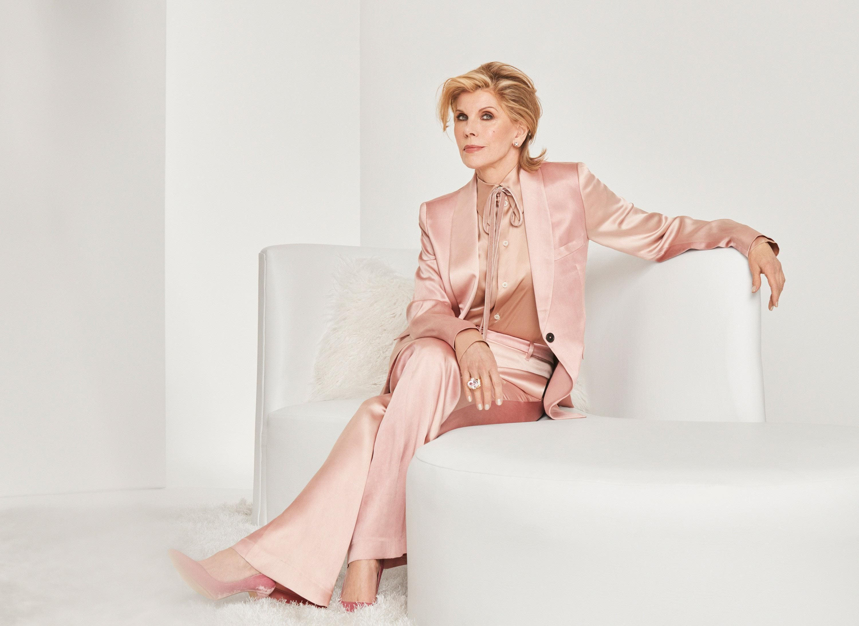 Christine Baranski in a pink pantsuit