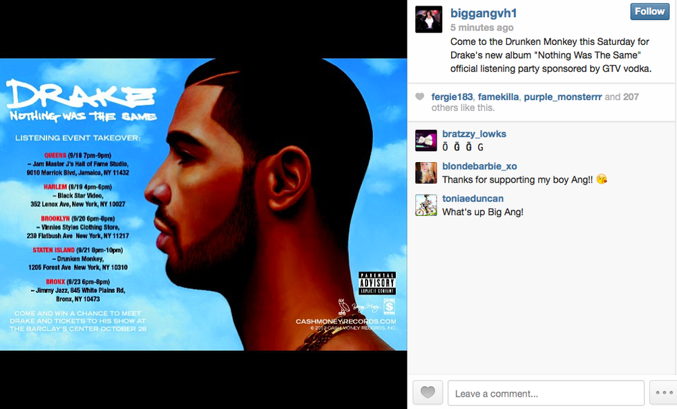 Drake Is Having an Official Listening Party at Big Ang's Staten Island Bar