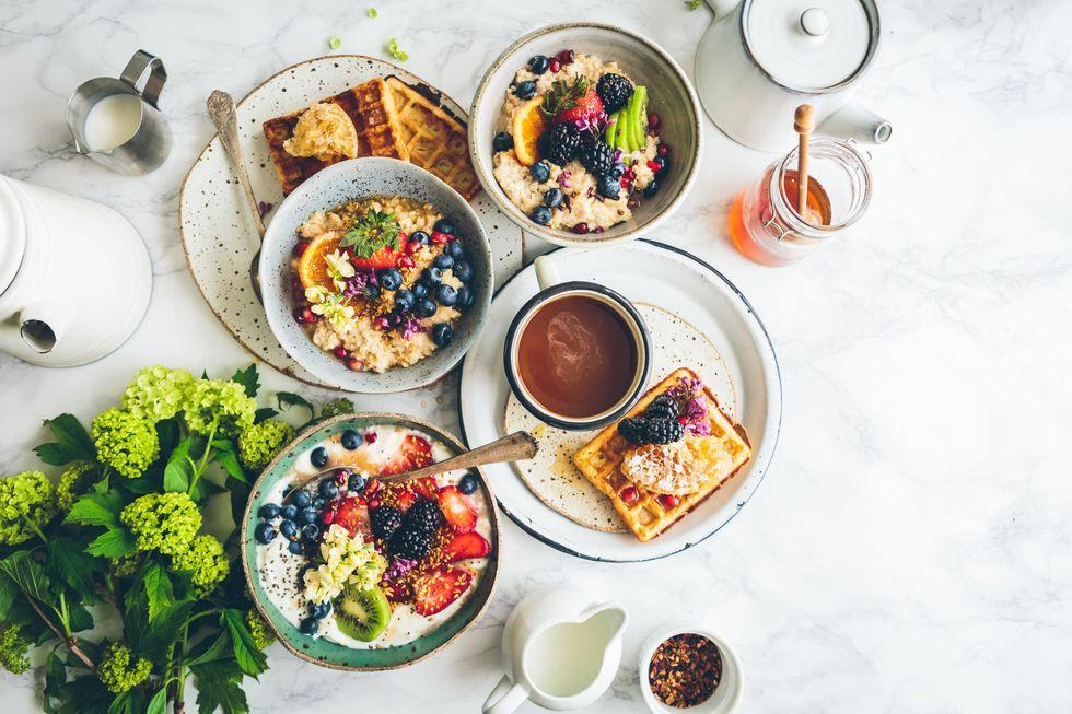 fruit salad on gray bowls