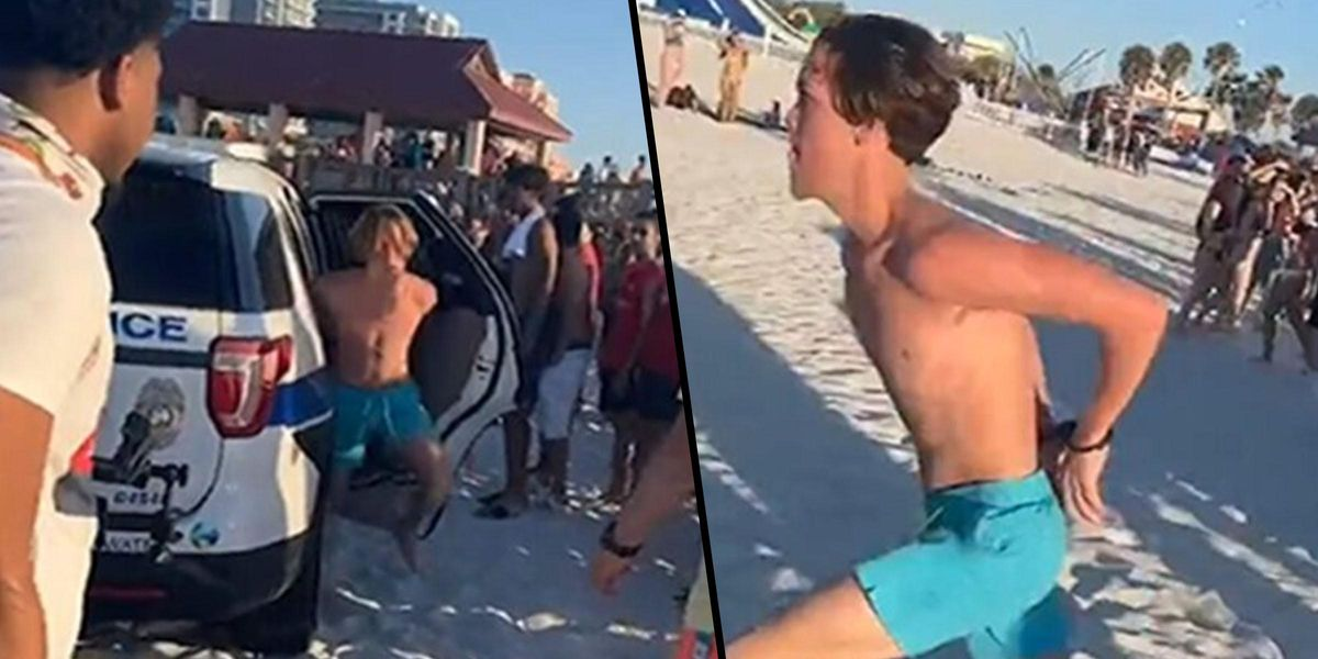 Handcuffed Spring Breaker Flees From Cops as Crowd Cheers Him On