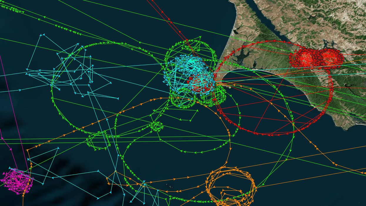 Analysis from SkyTruth and Global Fishing Watch shows ship tracks jumping thousands of miles from their true locations.