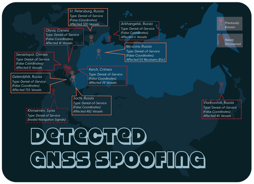 A world map of Russian GPS spoofing: not just in and near Russia, but also in Syria.