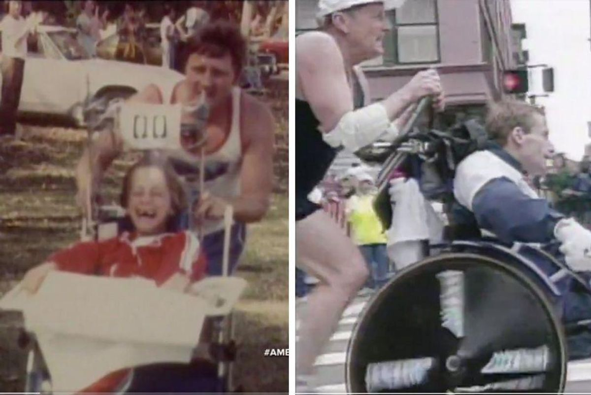 Here's to the dedicated dad who pushed his son through more than 1,000 races over 40 years