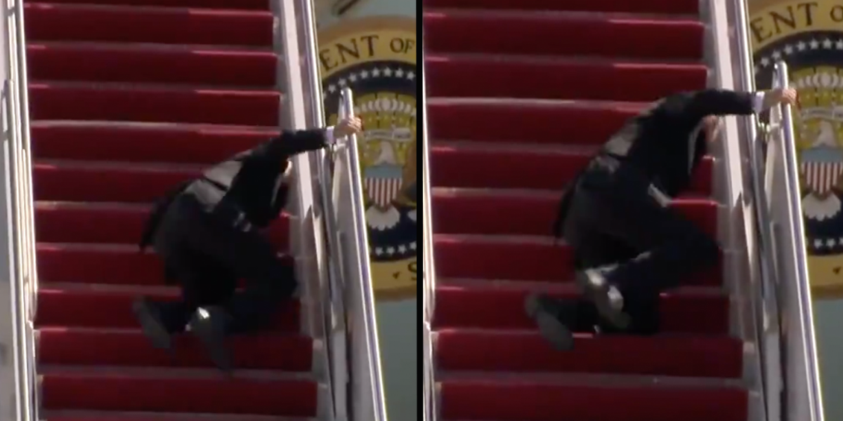 President Joe Biden Falls on the Stairs of Air Force One Three Times in a Row