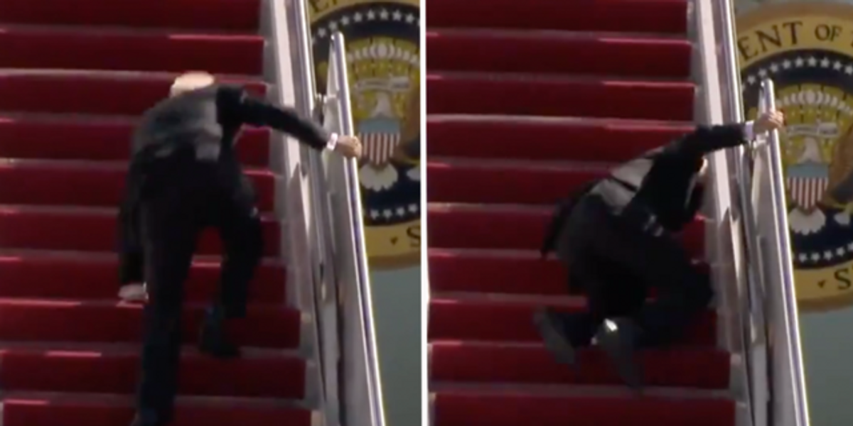 President Joe Biden Falls on the Stairs of Air Force One