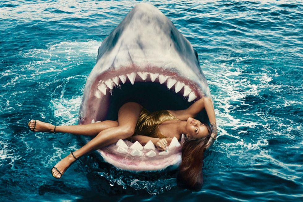 IDGAF Queen Rihanna Swims with Sharks for Harper's Bazaar