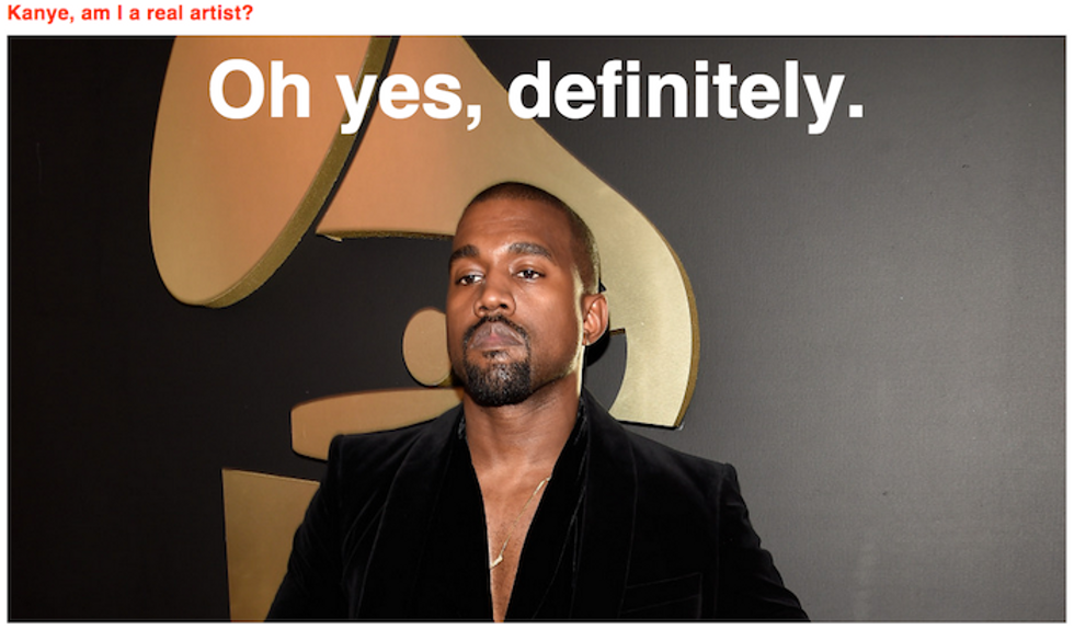 """Your New Favorite Website Lets You Ask Magic 8-Ball Kanye If You're a """"Real Artist"""""""