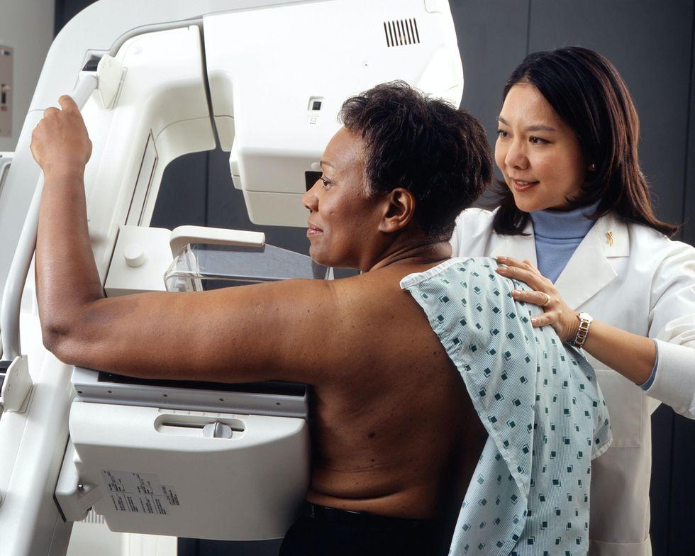 Woman Receives Mammogram.