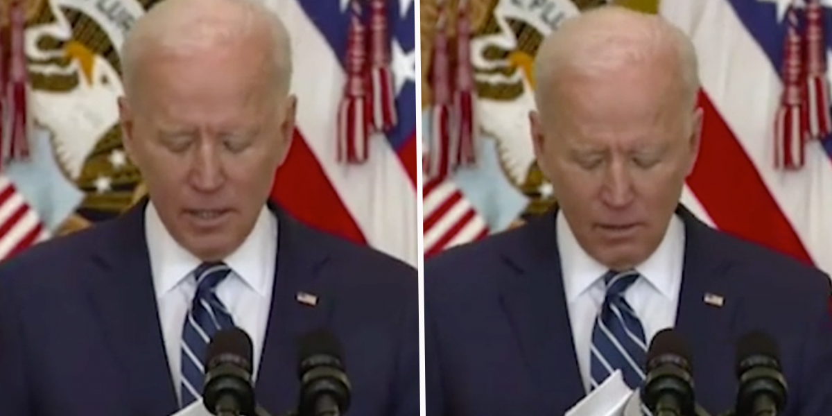 Images From Joe Biden's First News Conference Show Him Using 'Cheat Sheets'