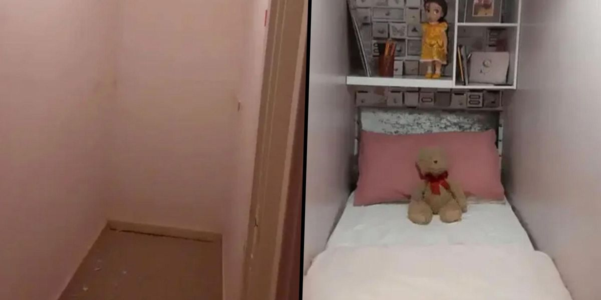 Woman Turns Small Cupboard in Her One-Bed Apartment Into a Sleeping Area for Her Stepdaughter