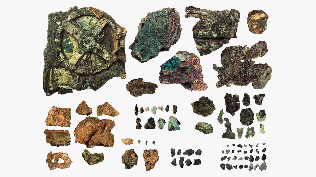 Antikythera mechanism pieces, discovered in a shipwreck in 1901.