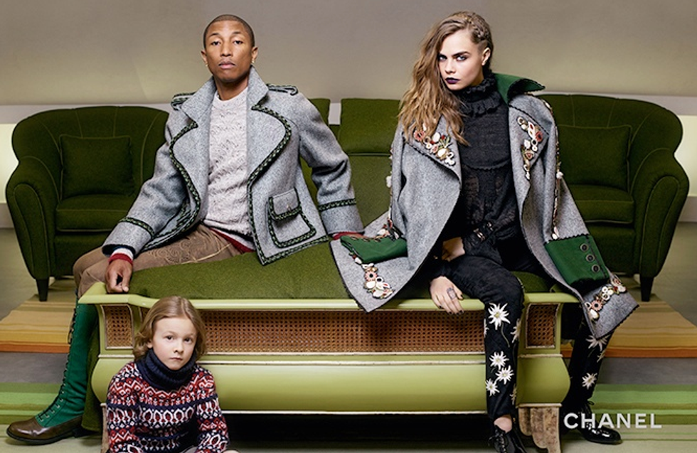 Pharrell's Green Boots Star In a New Chanel Ad With Cara Delevingne