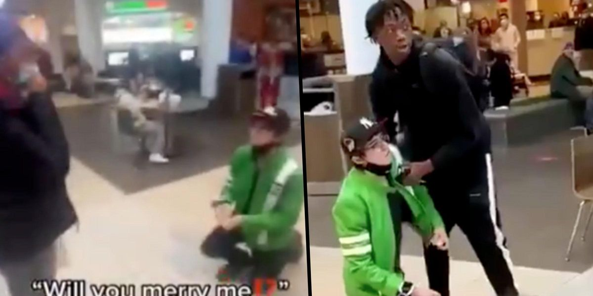 Devastating Video Shows Man's Marriage Proposal Brutally Rejected in Front of a Busy Shopping Mall