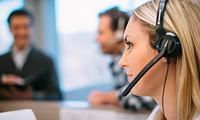 Young woman on headset