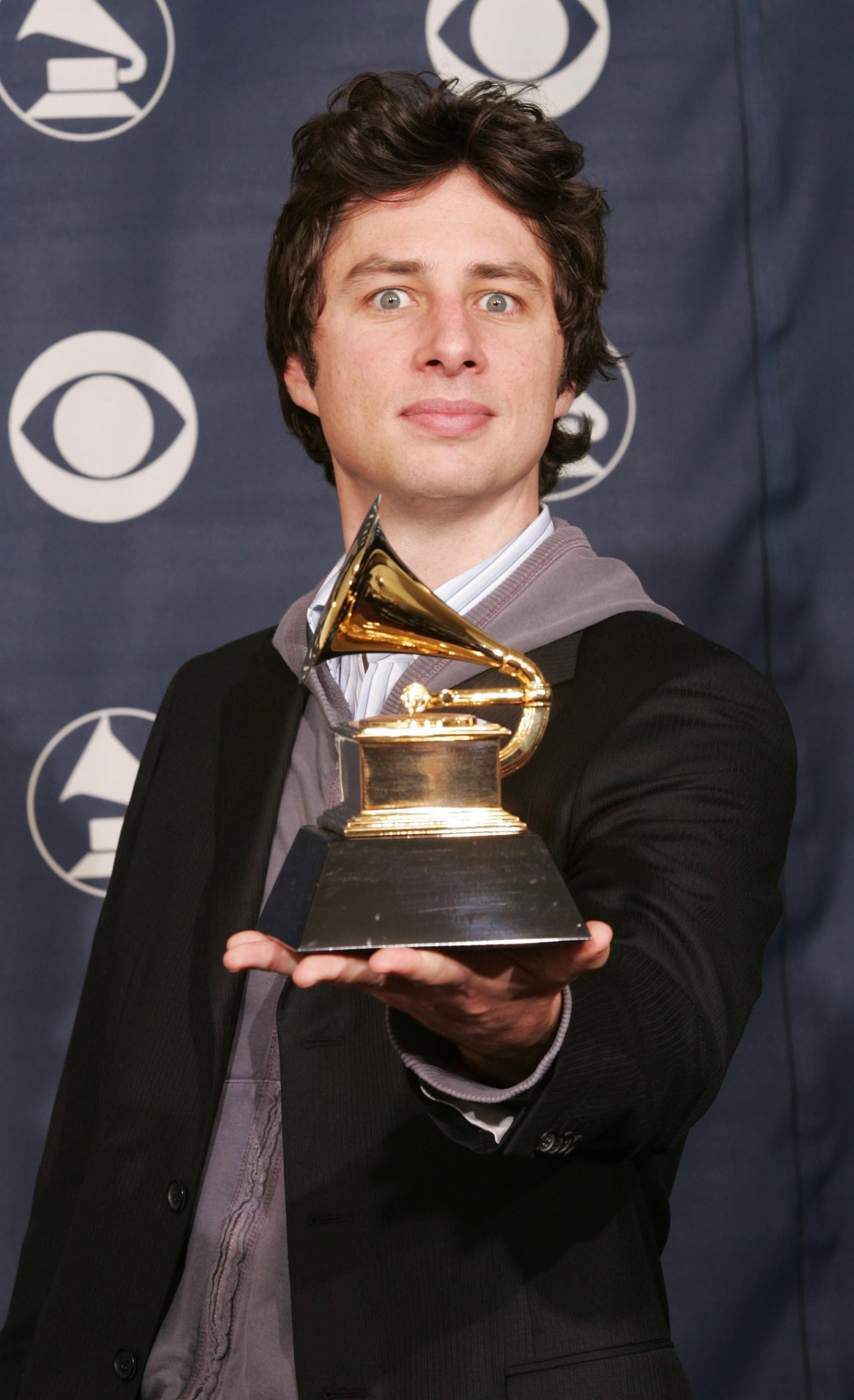 Zach Braff shows off his GRAMMY
