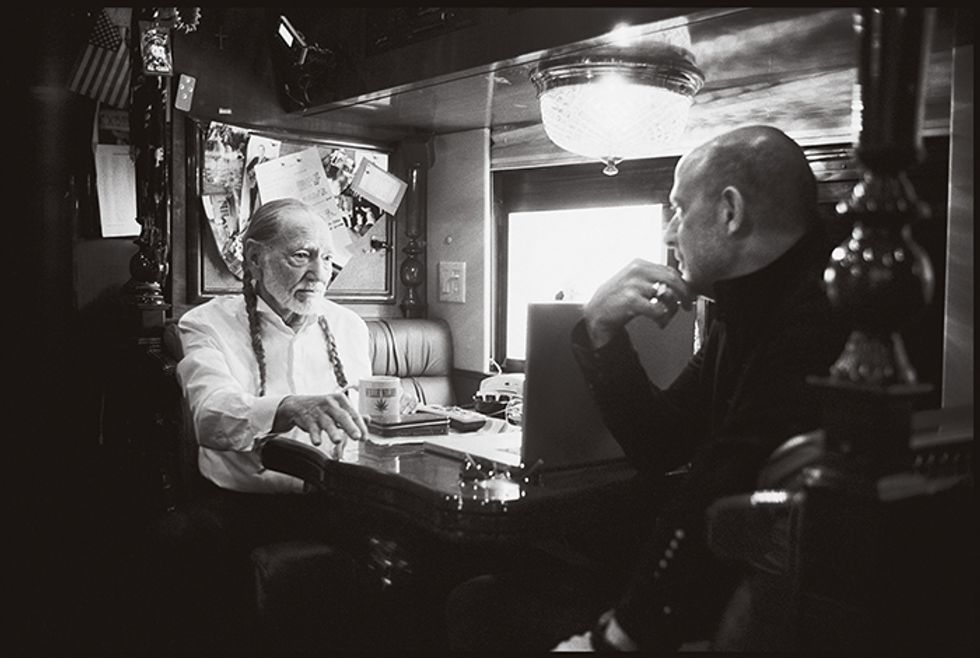 Willie Nelson Talks to Designer John Varvatos About Music, Nudie Suits and Trigger -- Nelson's Trusty Geetar
