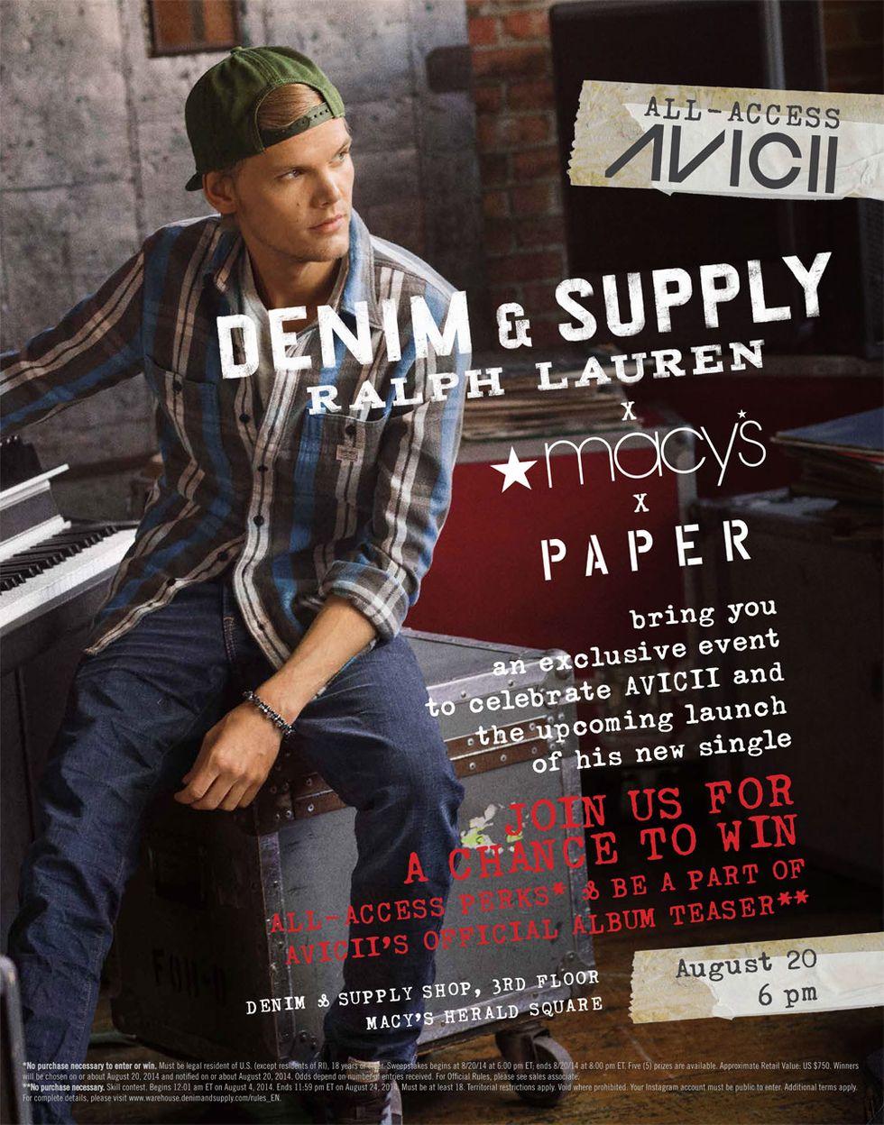 Celebrate AVICII with PAPER, Denim & Supply Ralph Lauren, and Macy's