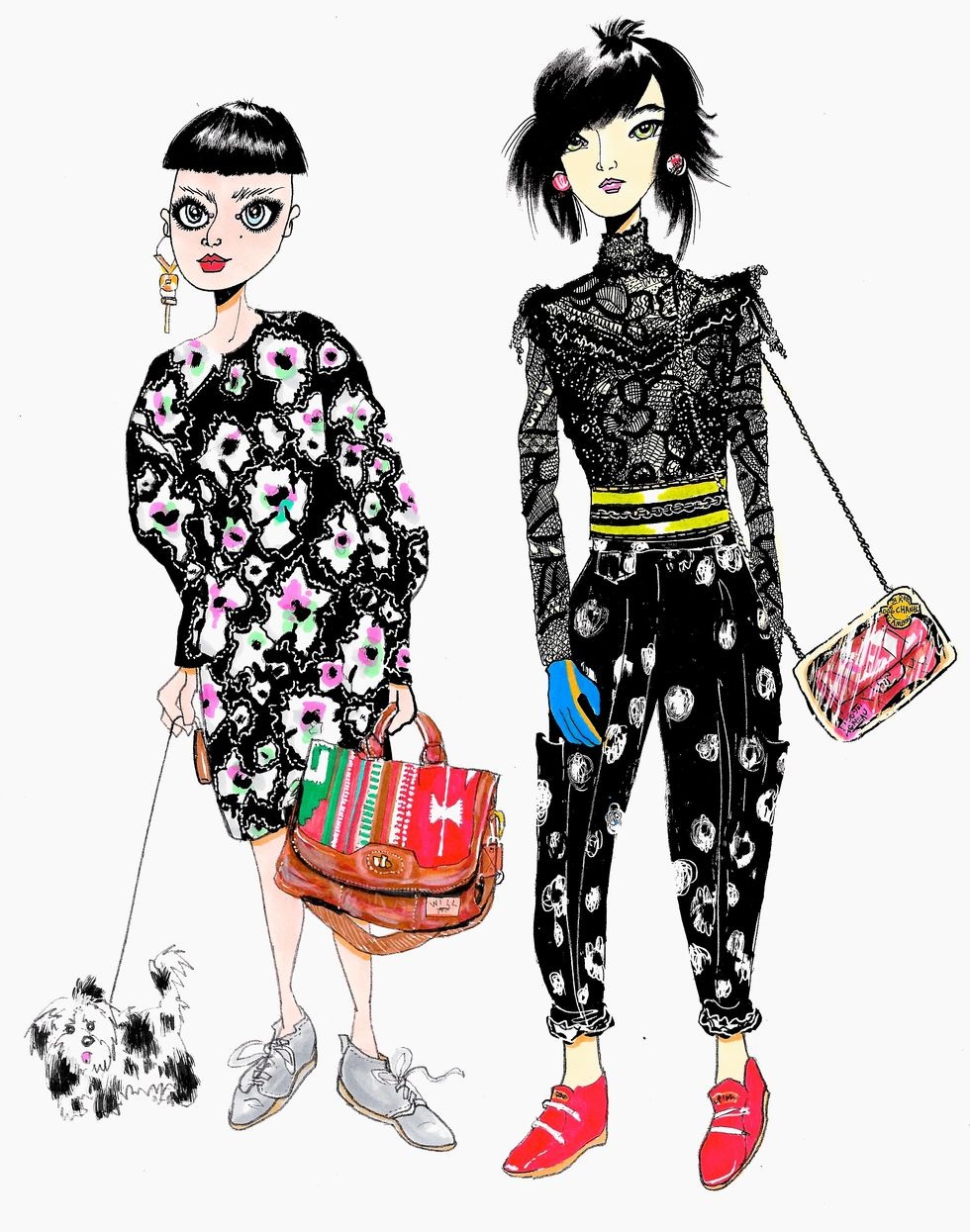 Style Fiends: Patterned and Printed Besties Take a Stroll